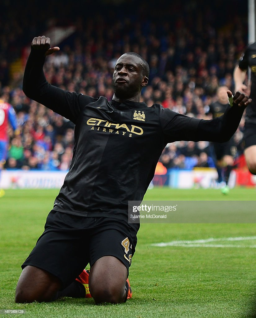 <a gi-track='captionPersonalityLinkClicked' href=/galleries/search?phrase=Yaya+Toure&family=editorial&specificpeople=550817 ng-click='$event.stopPropagation()'>Yaya Toure</a> of Manchester City celebrates scoring his team's second goal during the Barclays Premier League match between Crystal Palace and Manchester City at Selhurst Park on April 27, 2014 in London, England.
