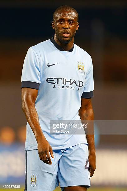 Yaya Toure of Manchester City in action against Liverpool during the International Champions Cup 2014 at Yankee Stadium on July 30 2014 in the Bronx...