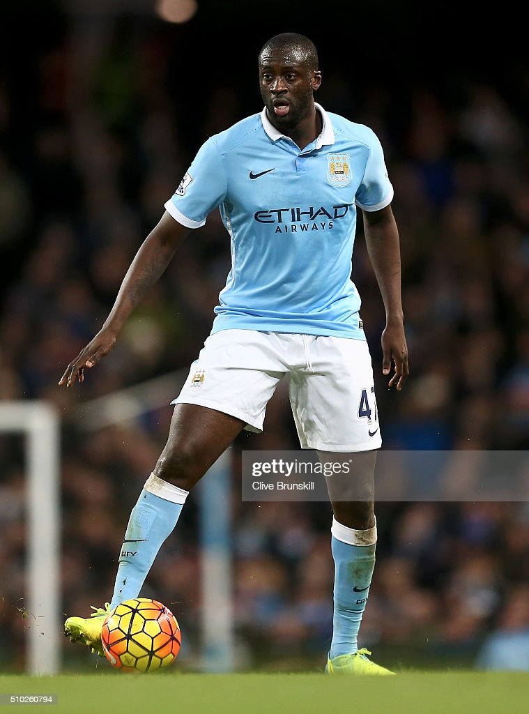 Yaya Toure of Manchester City in action during the Barclays Premier League match between Manchester City and Tottenham Hotspur at Etihad Stadium on February 14, 2016 in Manchester, England.