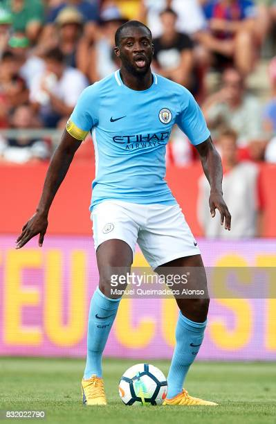 Yaya Toure of Manchester City in action during the preseason friendly match between Girona and Manchester City at Municipal de Montilivi Stadium on...