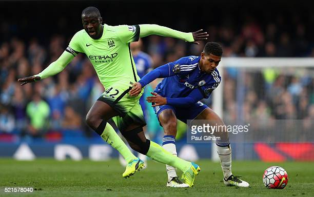 Yaya Toure of Manchester City in action with Ruben LoftusCheek of Chelsea during the Barclays Premier League match between Chelsea and Manchester...