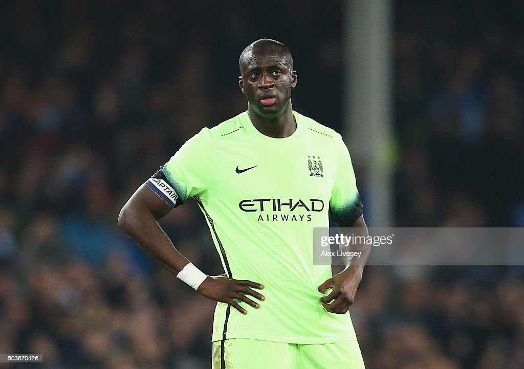 Yaya Toure of Manchester City looks dejected after the goal scored by Romelu Lukaku of Everton during the Capital One Cup Semi Final First Leg match between Everton and Manchester City at Goodison Park on January 6, 2016 in Liverpool, England.