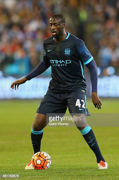Yaya Toure of Manchester City looks to pass the ball during the International Champions Cup match between Real Madrid and Manchester City at...