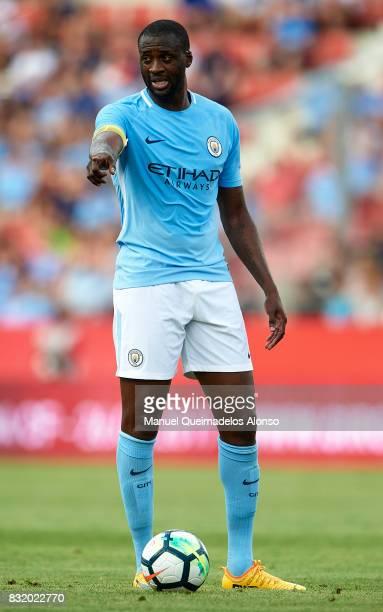 Yaya Toure of Manchester City reacts during the preseason friendly match between Girona and Manchester City at Municipal de Montilivi Stadium on...