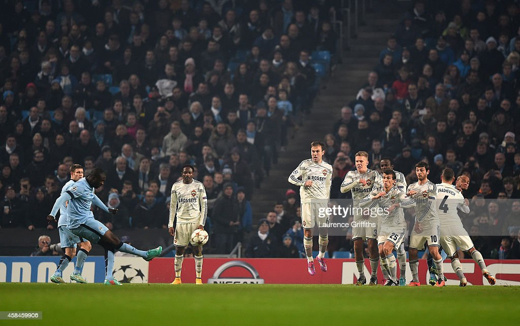 Yaya Toure of Manchester City scores his team's first goal during the UEFA Champions League Group E match between Manchester City and CSKA Moscow on November 5, 2014 in Manchester, United Kingdom.