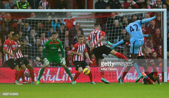 Yaya Toure of Manchester City scores their first goal during the Barclays Premier League match between Southampton and Manchester City at St Mary's...