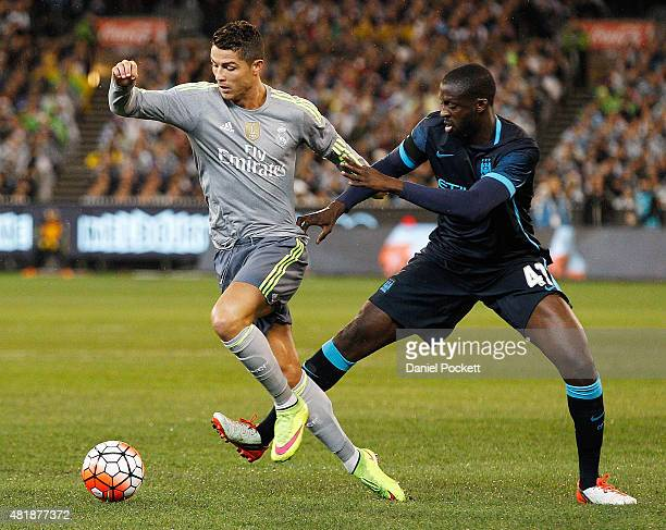 Yaya Toure of Manchester City tackles Cristiano Ronaldo of Real Madrid during the International Champions Cup match between Real Madrid and...