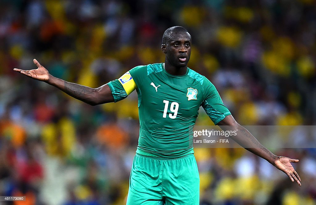 <a gi-track='captionPersonalityLinkClicked' href=/galleries/search?phrase=Yaya+Toure&family=editorial&specificpeople=550817 ng-click='$event.stopPropagation()'>Yaya Toure</a> of the Ivory Coast reacts during the 2014 FIFA World Cup Brazil Group C match between Greece and Cote D'Ivoire at Estadio Castelao on June 24, 2014 in Fortaleza, Brazil.