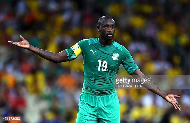Yaya Toure of the Ivory Coast reacts during the 2014 FIFA World Cup Brazil Group C match between Greece and Cote D'Ivoire at Estadio Castelao on June...