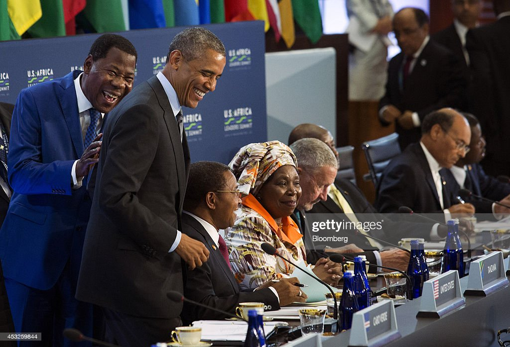 <a gi-track='captionPersonalityLinkClicked' href=/galleries/search?phrase=Yayi+Boni&family=editorial&specificpeople=3974519 ng-click='$event.stopPropagation()'>Yayi Boni</a>, president of Benin, left, laughs with U.S. President <a gi-track='captionPersonalityLinkClicked' href=/galleries/search?phrase=Barack+Obama&family=editorial&specificpeople=203260 ng-click='$event.stopPropagation()'>Barack Obama</a>, second left, before the start of a session entitled 'Investing in Africa's Future' at the U.S.-Africa Leaders Summit at the State Department in Washington, D.C., U.S., on Wednesday, Aug. 6, 2014. Obama said Africa represents a great opportunity for American companies to expand their investments, as the U.S. competes with China to tap some of the worlds fastest growing economies. Photographer: Drew Angerer/Bloomberg via Getty Images