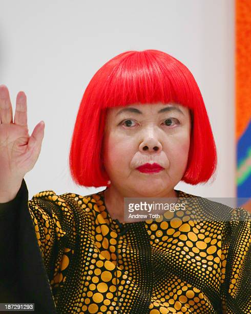 Yayoi Kusama speaks during the Yayoi Kusama 'I Who Have Arrived In Heaven' Exhibition Press Preview at David Zwirner Art Gallery on November 7 2013...
