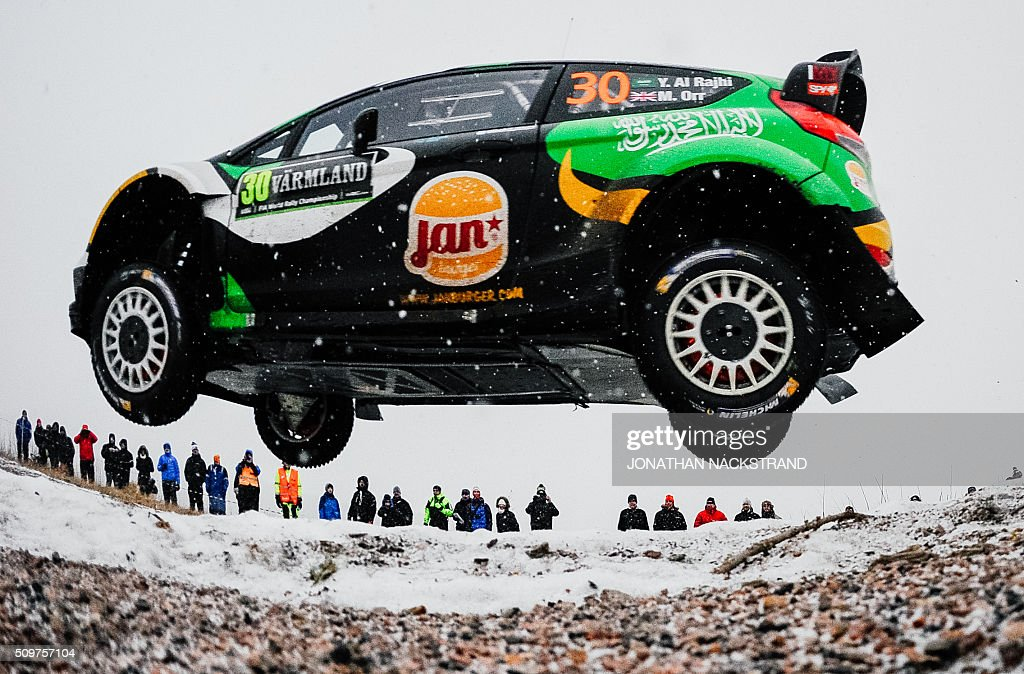 Yazeed Al Rajhi of Saudi Arabia and his co-driver Michael Orr of Ireland steer their Ford Fiesta RS WRC during the 2nd stage of the Rally Sweden, second round of the FIA World Rally Championship on February 12, 2016 in Torsby, Sweden. / AFP / JONATHAN NACKSTRAND