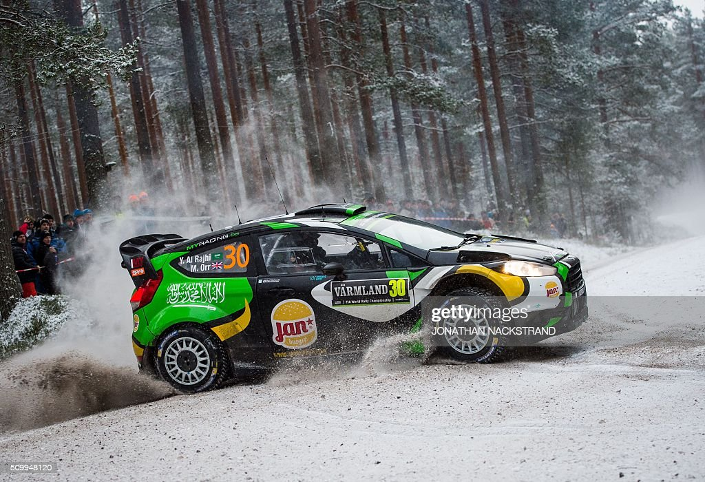 Yazeed Al Rajhi of Saudi Arabia and his co-driver Michael Orr of Ireland steer their Ford Fiesta RS WRC during the 10th stage of the Rally Sweden, second round of the FIA World Rally Championship on February 13, 2016 in Fredriksberg, Sweden. / AFP / JONATHAN NACKSTRAND