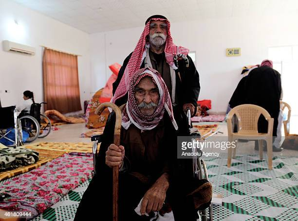 Yazidi man 80year old Helef Ebdo freed by Islamic State of Iraq and the Levant militants is seen in Kirkuk Iraq on January 18 2015 ISIL freed...