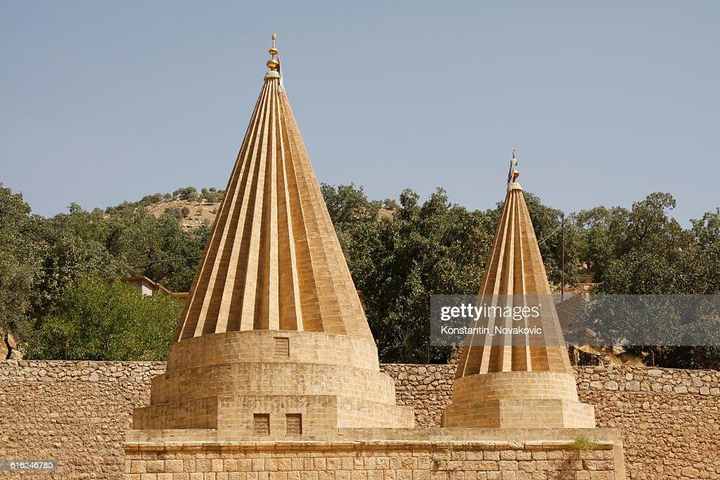 Yazidi temple rooftop : Stock Photo