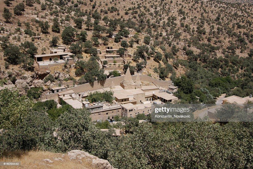 Yazidi temples in Lalish, Iraqi Kurdistan : Stock Photo