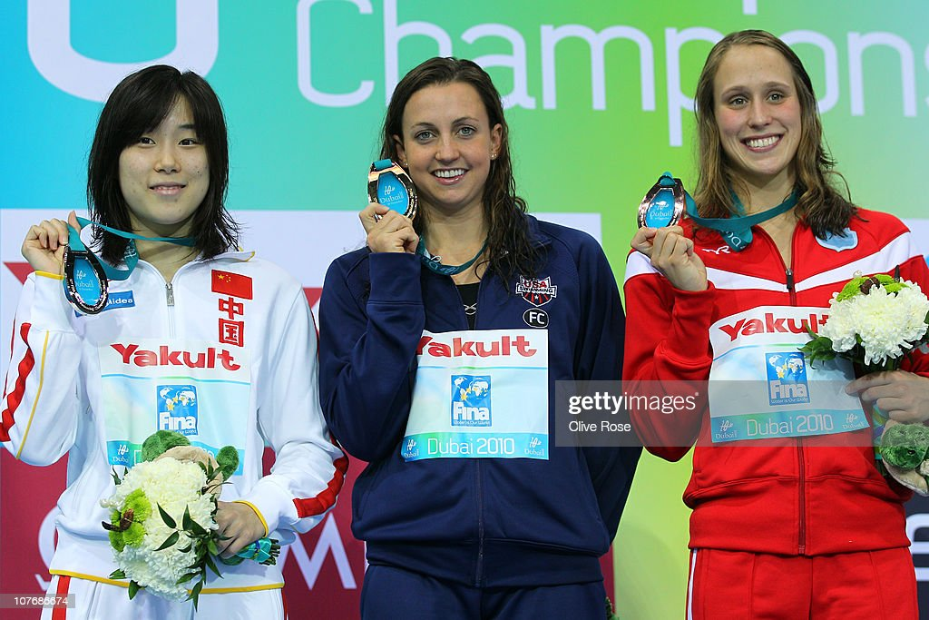 Ye Sun of China (L) <a gi-track='captionPersonalityLinkClicked' href=/galleries/search?phrase=Rebecca+Soni&family=editorial&specificpeople=695876 ng-click='$event.stopPropagation()'>Rebecca Soni</a> of USA and <a gi-track='captionPersonalityLinkClicked' href=/galleries/search?phrase=Rikke+Moller+Pedersen&family=editorial&specificpeople=6523684 ng-click='$event.stopPropagation()'>Rikke Moller Pedersen</a> of Denmark (R) pose with their medals after the Women's200m Breaststroke final on day five of the 10th FINA World Swimming Championships (25m) at the Hamdan bin Mohammed bin Rashid Sports Complex on December 19, 2010 in Dubai, United Arab Emirates.
