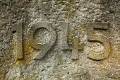 Year 1945 carved in the stone. The years of World War II.
