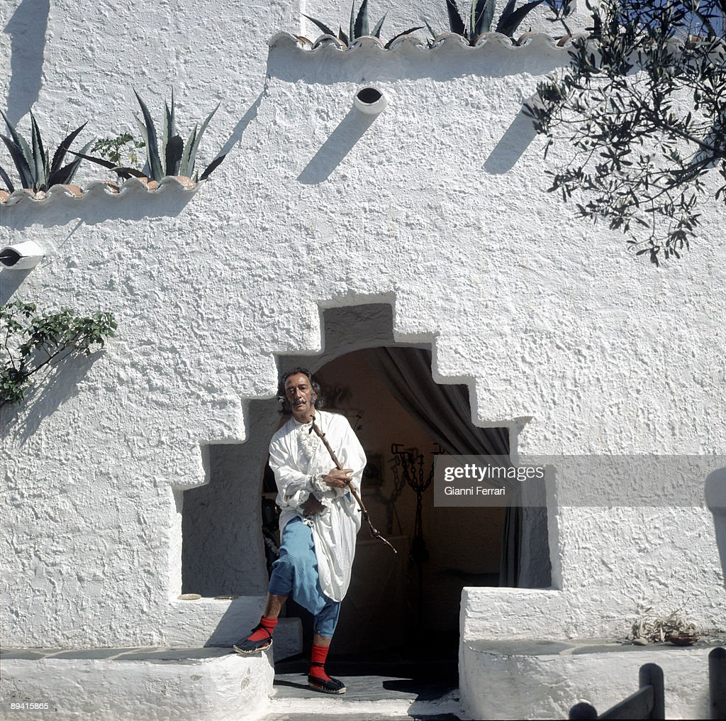 Year 1969, Port Lligat, Gerona, Catalonia, Spain. Posed portrait of the painter Salvador Dali in his house in Gerona.