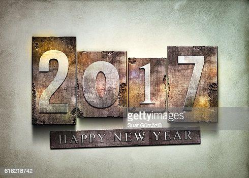 Year 2017 letterpress. : Stock Photo
