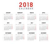 Year 2018 minimalist calendar, on white background. Weeks start on monday