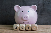 Year 2019 financial goal, happy smiling pink piggy bank with wooden cube block with number 2019 on table and dark black background.