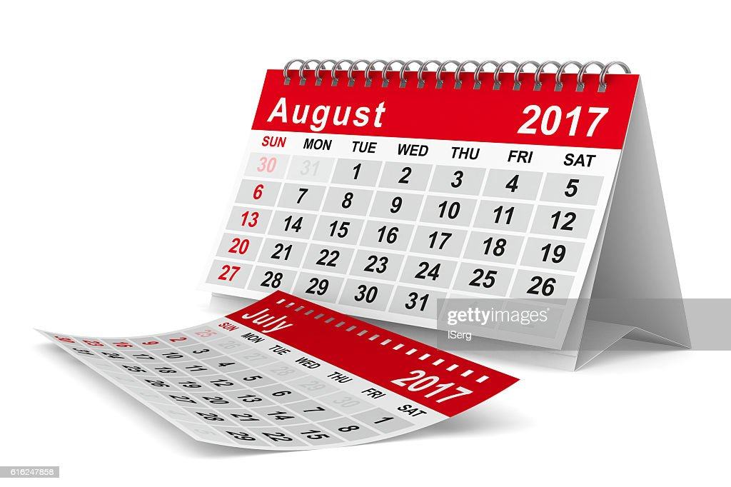 2017 year calendar. August. Isolated 3D image : Foto de stock