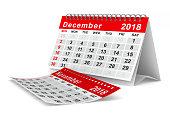 2018 year calendar. December. Isolated 3D illustration