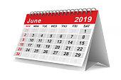 2019 year. Calendar for June. Isolated 3D illustration