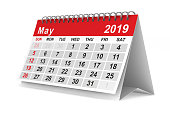 2019 year. Calendar for May. Isolated 3D illustration