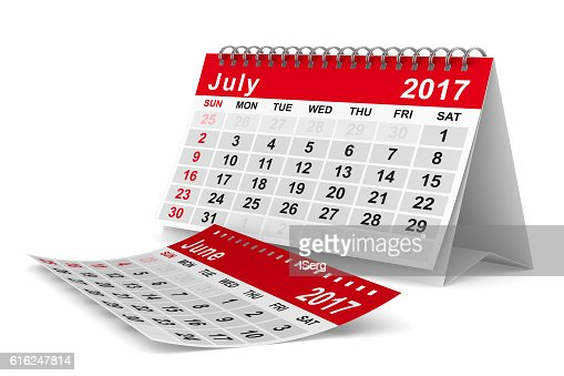 2017 year calendar. July. Isolated 3D image : Foto de stock