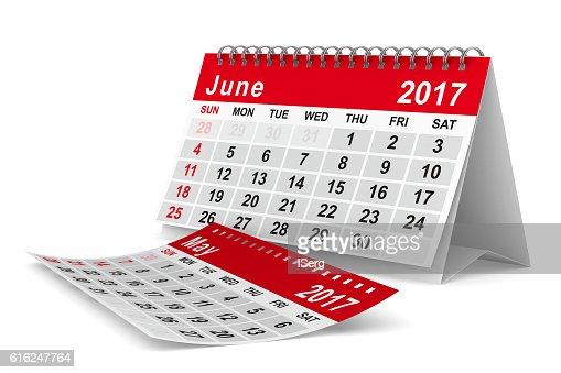 2017 year calendar. June. Isolated 3D image : Foto de stock