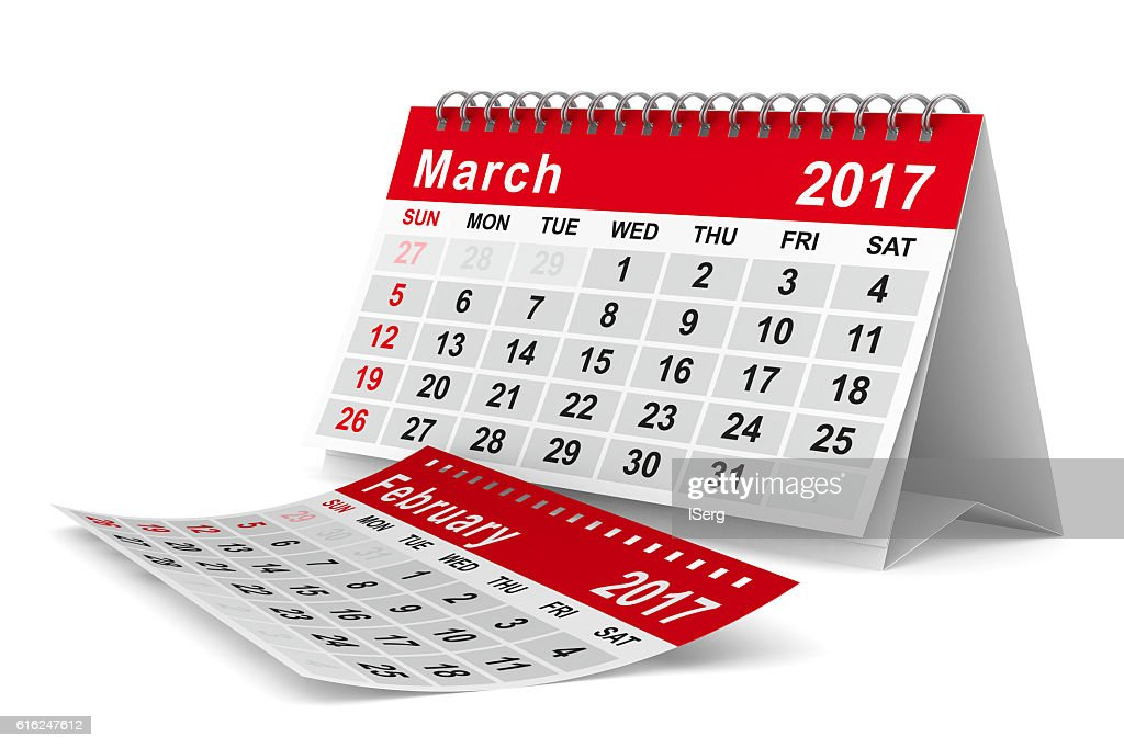 2017 year calendar. March. Isolated 3D image : Foto de stock