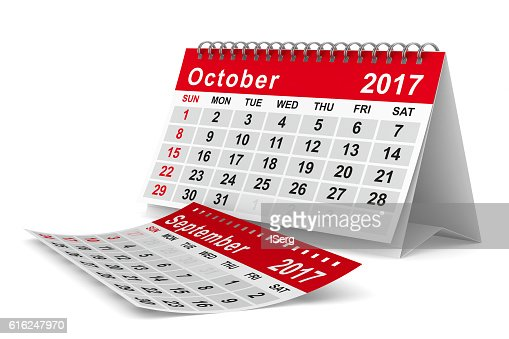 2017 year calendar. October. Isolated 3D image : Foto de stock