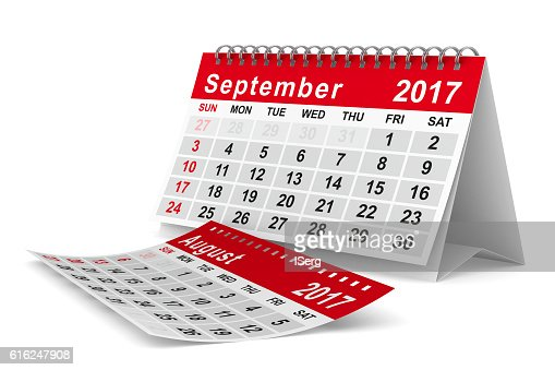 2017 year calendar. September. Isolated 3D image : Foto de stock