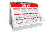 2015 year desktop calendar on a white background