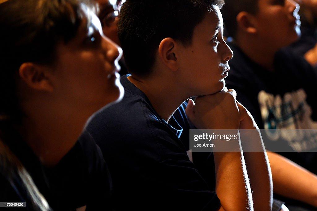 11 year old 5th grader <b>Rudy Nunez</b> listens as well over 100 4th and 5th ... - year-old-5th-grader-rudy-nunez-listens-as-well-over-100-4th-and-5th-picture-id475545426