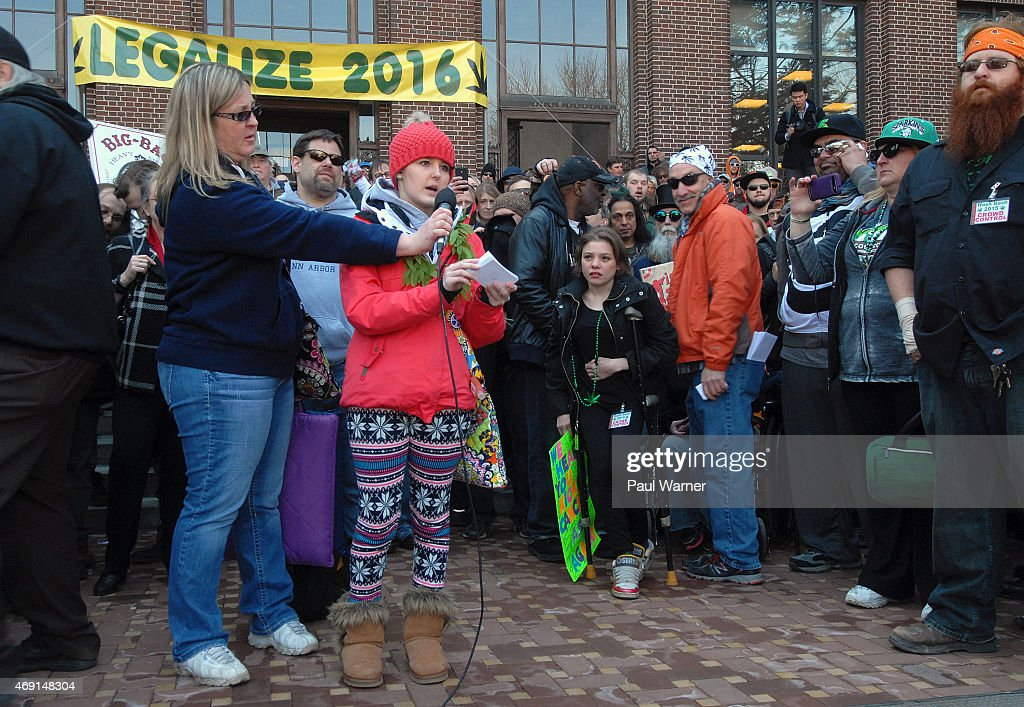 18 year old Alysa Erwin who sucessfully treated her brain cancer with cannabis oilspeaks at the annual Hash Bash a annual pro marijuana rally at...