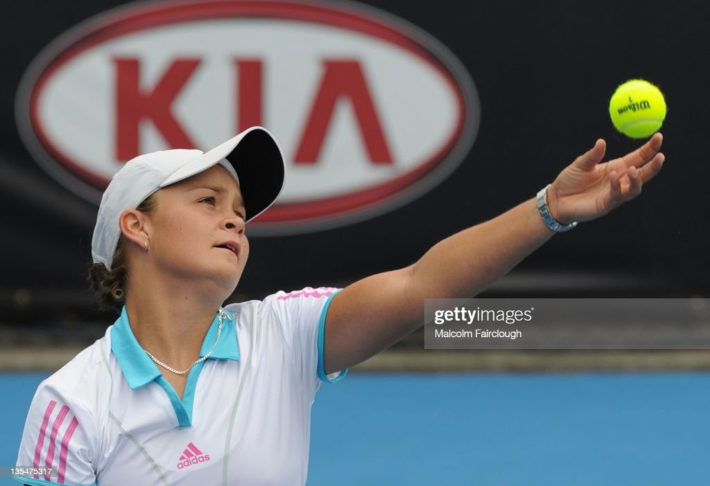 15 year old <a gi-track='captionPersonalityLinkClicked' href=/galleries/search?phrase=Ashleigh+Barty&family=editorial&specificpeople=7369424 ng-click='$event.stopPropagation()'>Ashleigh Barty</a> of Queensland during her match against Olivia Rogowska of Victoria at Melbourne Park on December 11, 2011 in Melbourne, Australia.