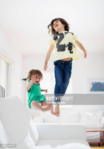 6 year old boy having fun with his brother
