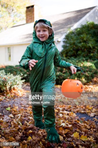 7 year old boy in his costume for halloween stock photo