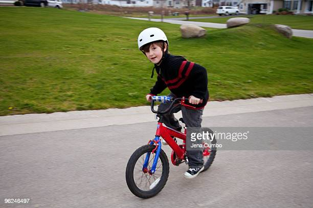6 year old boy riding bicycle