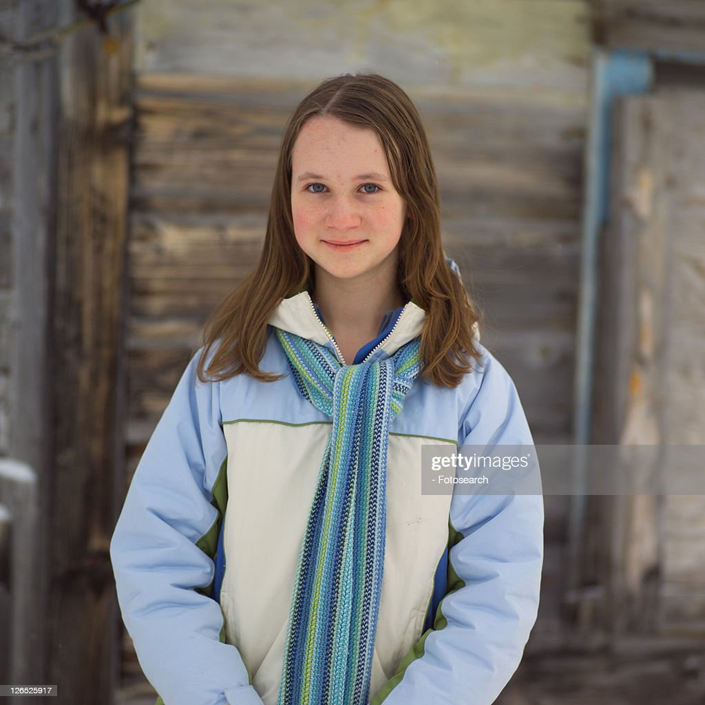 12 - 14 year old brunette girl : Stock Photo