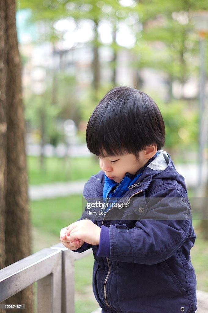 1.5 Year old child exploring nature world : Stock Photo