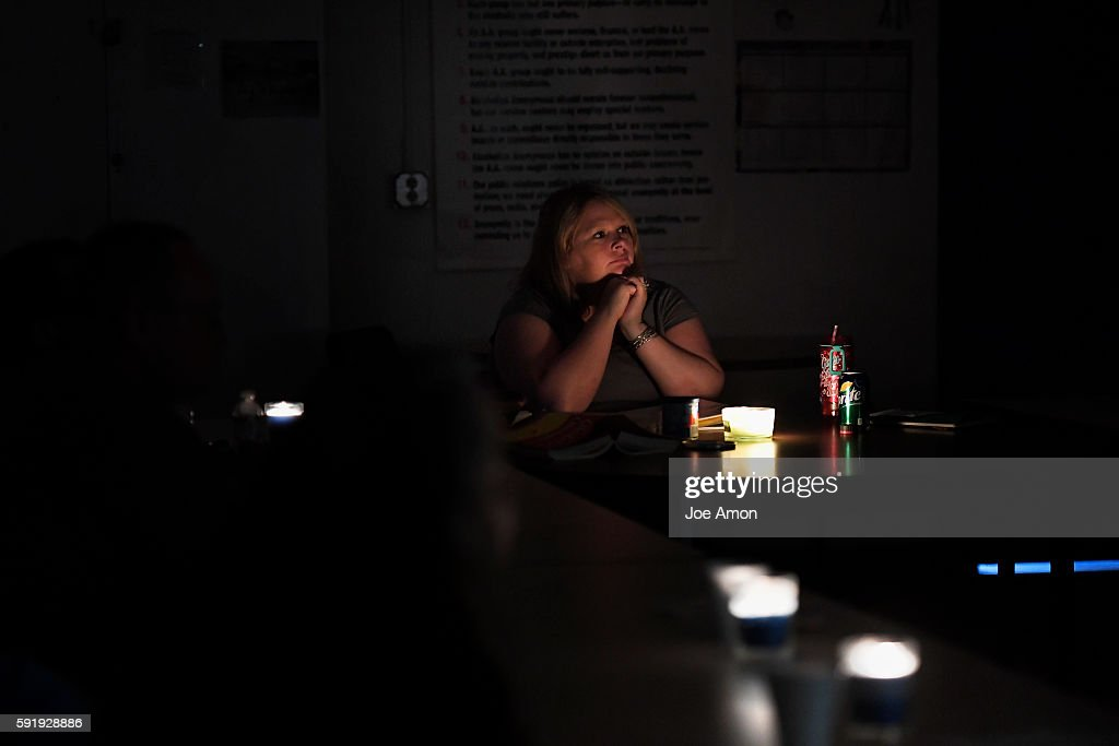 37 year old Emily Lynn Stock leads a candle light 12 step meeting in the Fort Lyon Supportive Residential Community Emily has been at the former Fort...