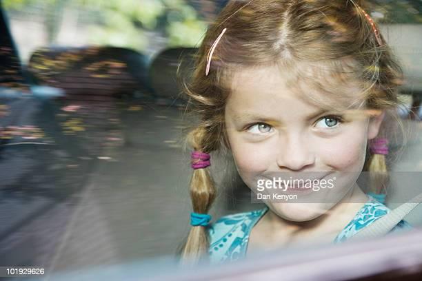 6 year old Girl in car - portrait