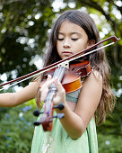 7 year old girl with her violin