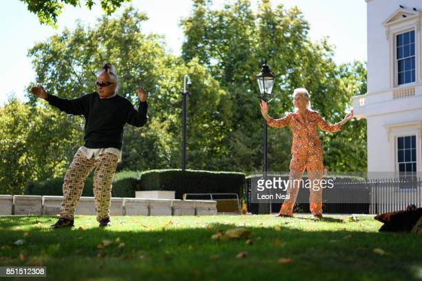 80 year old Guru Sai and 89 year old Moya Ahmed practise Tai Chi in a park on September 22 2017 in London England Today marks the start of the...
