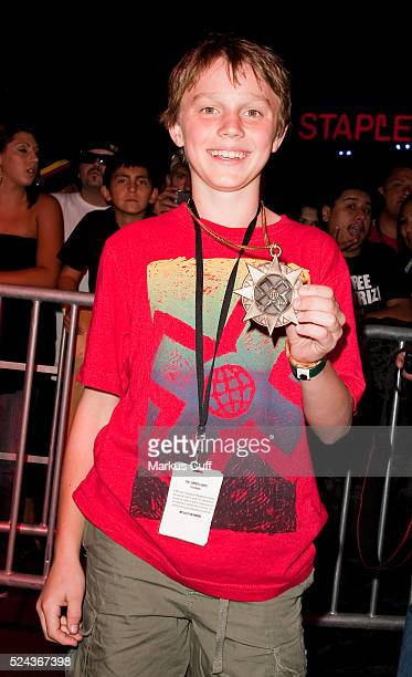 13 year old Johnathan 'Jono' Schwan celebrates his bronze medal win in Men's Skateboard Vert Amateur at X Games 16