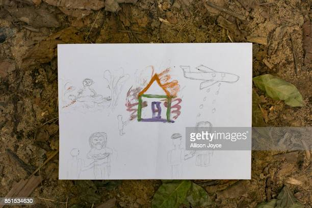 COX'S BAZAR BANGLADESH SEPTEMBER 21 12 year old Kurshida's drawing is seen at a CODEC and UNICEF 'child friendly space' on September 21 2017 in Cox's...